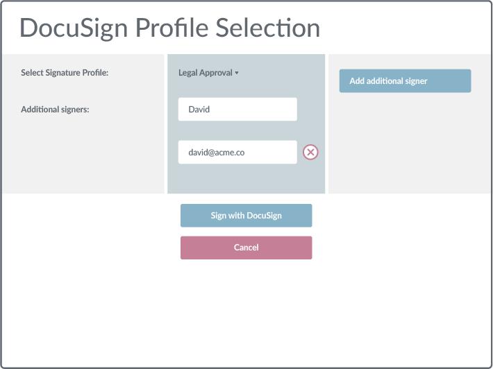 DocuSign profile selection
