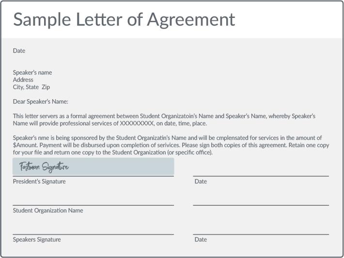 Sample letter of agreement