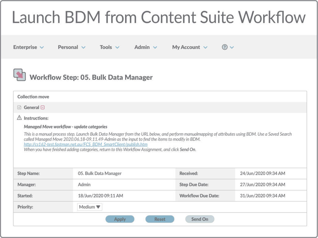 Launch BDM from Content Suite Workflow