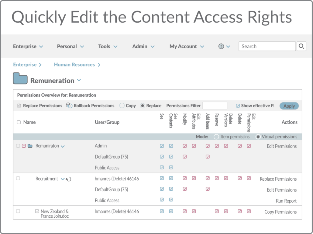 Quickly edit the content access rights