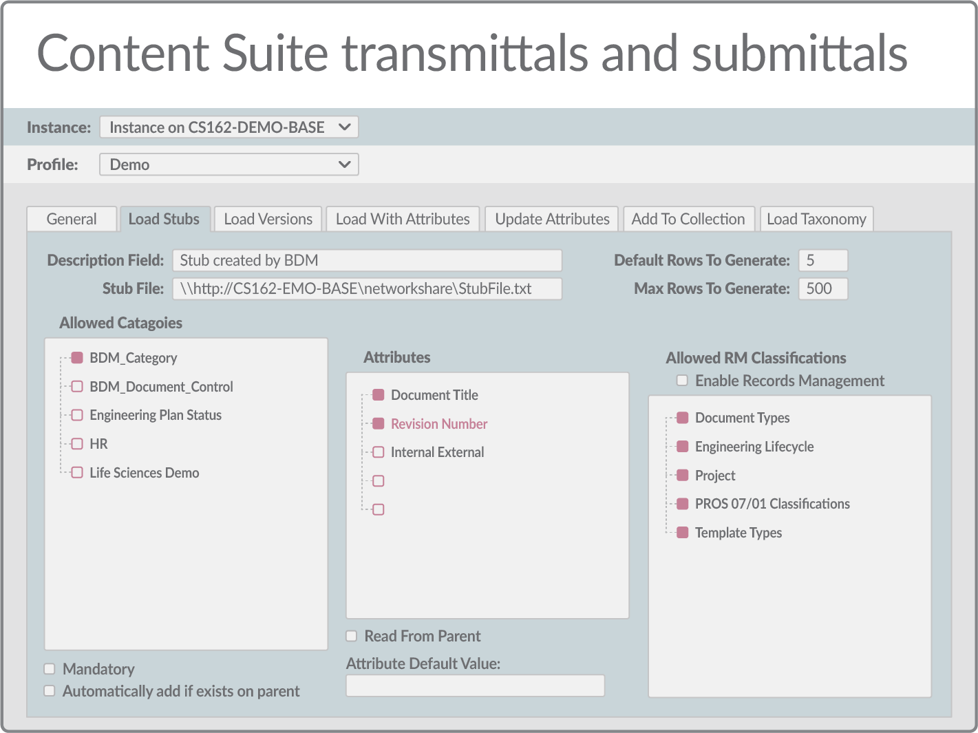 Content Suite transmittals and submittals