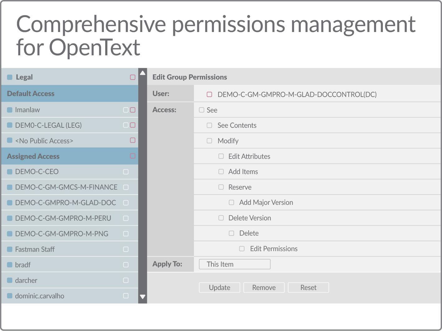 Comprehensive permissions management for OpenText