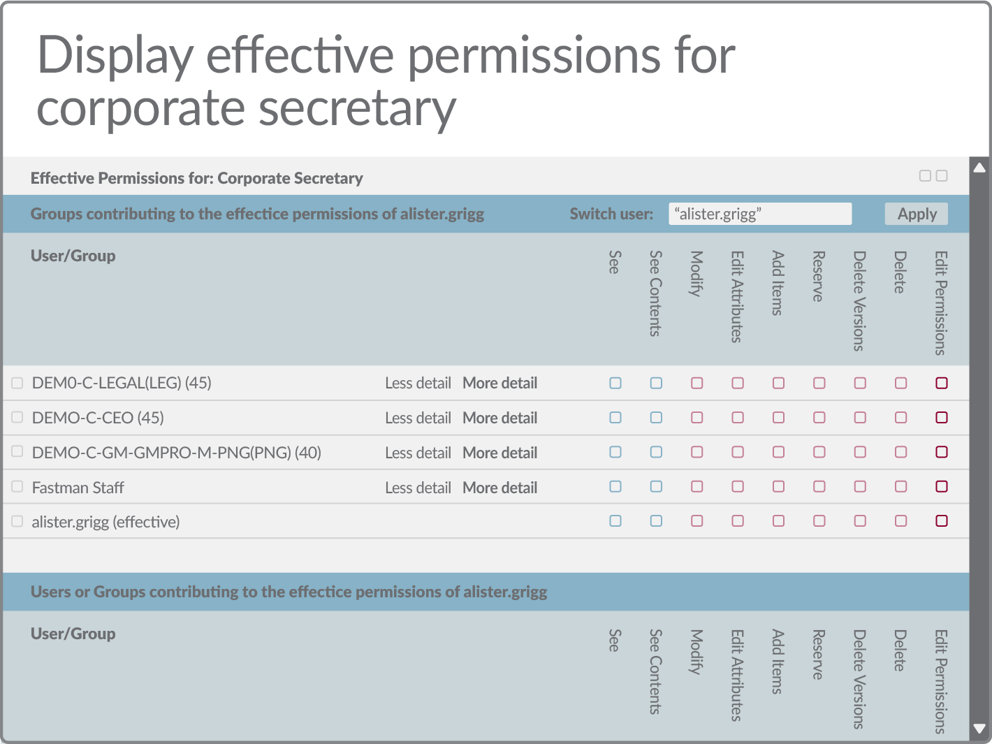 Display effective permissions for corporate secretary